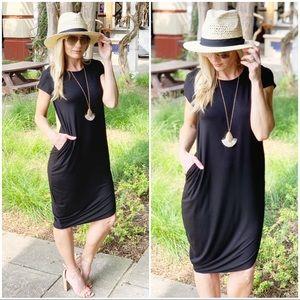 Infinity Raine Dresses - Black  Asymmetrical mid dress with Pockets